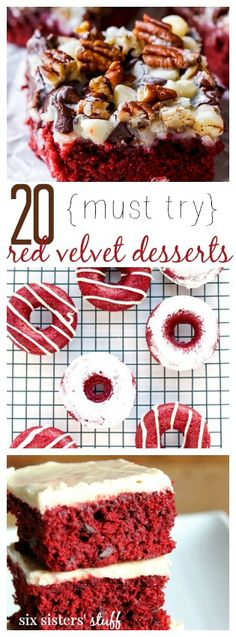 20 {must try} Red Velvet Desserts from Six Sisters' Stuff | These are some of the best Valentine's Day desserts to serve! These are 20 red velvet recipes that will not disappoint!