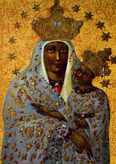 Polish Black Madonna by Nigra suM Madonna Und Kind, Madonna And Child, African American Art, African Art, African History, Blessed Mother Mary, Divine Mother, Religious Icons, Religious Art