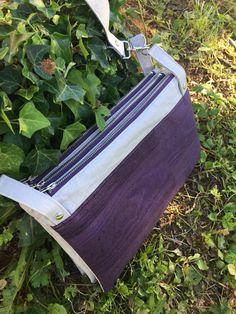 Triple pochette ChaChaCha en blanc et liège luxe violet cousue par Sandra - Patron Sacôtin