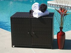 Pool Towel Storage Ideas great idea for repurposing an old dresser thats missing drawers this would be great at Outdoor Pool Storage For Towels By Rsbandcompany Via Flickr