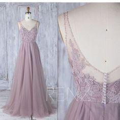 2017 Dusty Thistle Tulle Bridesmaid Dress, V Beading Neckline Wedding Dress, A Line Prom Dress, Luxury Evening Gown Floor Length (LS277)
