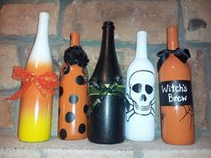 My Halloween wine bottle crafts... Pinterest success!