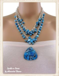 The Victoria Necklace - Make a statement without saying a word with this stunning double-chain agate cluster necklace.  A work of art!