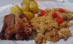 COSTELINHA ASSADA COM BATATAS E FAROFA DE BACON - Receitas Culinárias