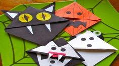 halloween bookmarks: my niece made these and she really had a good time. She wanted to make them for her friends as Halloween gifts. She especially enjoyed the cat. Diy Halloween, Halloween Class Party, Adornos Halloween, Manualidades Halloween, Halloween Crafts For Kids, Halloween Cards, Holidays Halloween, Halloween Decorations, Kids Crafts