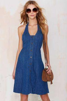 Vintage Holly Denim Halter Dress