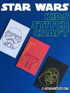 Star Wars Stitch Craft - Star Wars Girls Ideas of Star Wars Girls - Planning a party or just looking for something fun for the kids on a rainy day? Check out this Star Wars Kids Stitch Craft Project! Star Wars Crafts, Star Wars Decor, Star Wars Birthday, Star Wars Party, Sons Birthday, Star Wars Classroom, Wal Art, Star Wars Room, Sewing Projects For Kids