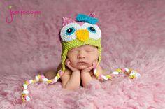 Funky Girls Owl Ear Flap Hat--Baby, Toddler, Child--Custom Color Options. $32.95, via Etsy.