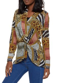 3b35f1bb9 Animal Print Faux Wrap Blouse - Multi - Size S