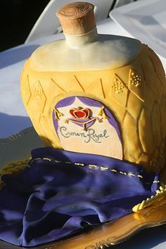 And a suprise for my sweetheart....a grooms cake that fooled the eye! Rich chocolate and CrownRoyal inside - with a hint of cherry/almond flavor. We ate this for breakfast the next morning because it was too awesome to mess with on the wedding day. #cake #weddingcake #groom #groomscake #crownroyal #fondant
