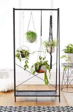 Nothing makes a statement like a hanging plant. Get a garment rack from Ikea for $9.99, and a hanging planter for $5.99.
