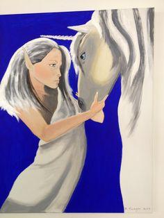 Fatina e Unicorno acrilico su tela