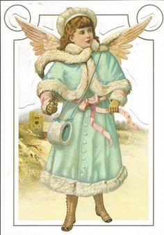 Vintage Die Cut Angel in Blue Victorian by vintagecornucopia, $4.95