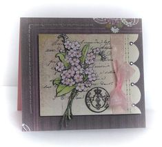 Penny Black: Flower Festival  - Colored using Derwent pencils Circle Pattern - Heat embossed in white Wishes (sentiment) Mix & Match Gre...