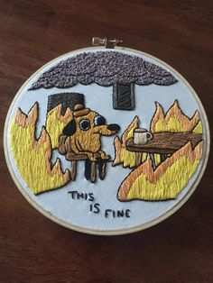 This is fine. my fourth piece, and my biggest so far : Embroidery Funny Embroidery, Embroidery On Clothes, Learn Embroidery, Hand Embroidery Patterns, Cross Stitch Embroidery, Cross Stitching, Sewing Projects, Couture, Stitches