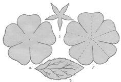 Выкройка камелии: ф, б - лепестки, в - подклейка, г - лист