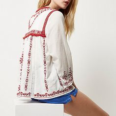 Cream embroidered festival jacket - jackets - coats / jackets - women