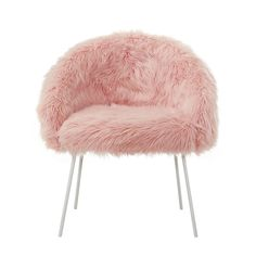 Inspired Home Rose/White Faux Fur Accent Chair White Powder Coated Metal Leg Dressing Chair, Chloe Brown, Used Chairs, Living Room Seating, Barrel Chair, Inspired Homes, Home Decor Styles, Accent Colors, Fur Trim