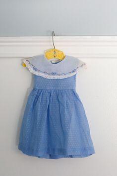 6-12 months: Vintage Blue Baby Dress 1950s Polka by Petitpoesy 6-12 months: Vintage Blue Baby Dress 1950s jay annette www.etsy.com/shop/petitpoesy