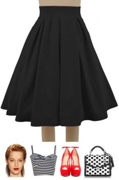 """Our """"Pretty In Pleats Skirt"""" was just restocked in Solid Red and Solid Black! Get these colors + 8 others here at Le bomb Shop: http://lebombshop.net/search?type=product&q=pretty+in+pleats&search-button.x=0&search-button.y=0"""