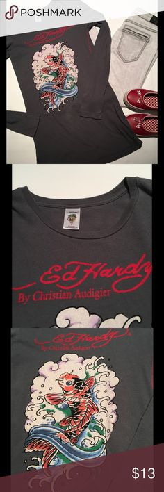 Ed Hardy Koi Tunic Great condition✨ Long, comfy, dark gray w/ koi t-shirt.  🚫No Trades❗️Make me an offer or request a bundle 🎯 Ed Hardy Tops Tunics