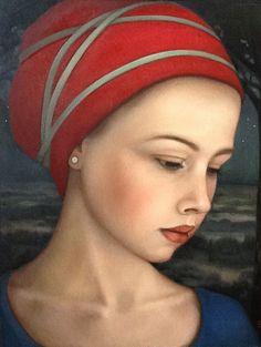 """""""Night Watch"""" - Ellen de Groot (b. 1959), oil on panel, 2013 {figurative realism art beautiful female head profile woman face portrait painting #loveart} helenadegroot.com"""