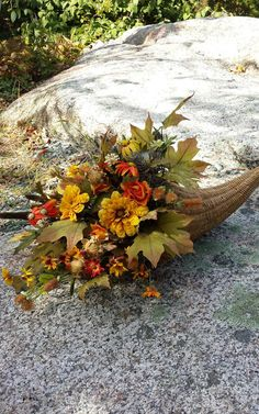 Cornucopia Fall Arrangement Floral Cornucopia by EverFlorals
