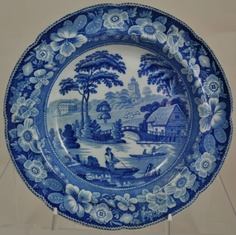 "Staffordshire Blue Transferware Soup Bowl ""Wild Rose"" 1830 