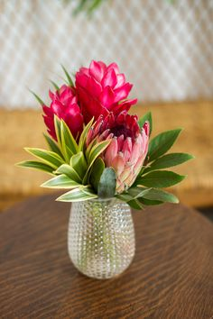 tropical wedding | pineapple vase | song of india | ginger | protea | small centerpiece | DIY Wedding flowers