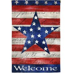 Patriotic Stripe And Star Welcome Double Sided House Flag