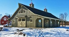 Modular barn by Horizon Structures. Includes: 2 - 8 overhangs, full loft, 4 - stalls, tack room, feed room and wash stall Dream Stables, Dream Barn, Horse Stables, Horse Barns, Old Barns, Horse Barn Plans, Barn Shop, Barn Garage, Barns Sheds