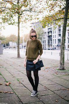 OLIVE knit, ZARA skirt, CONVERSE shoes, COACH bag, CELINE sunnies - sept