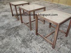 banquetas em madeira maciça de Tauari e assento com tela de palha indiana natural...acabamento com verniz PU com tingidor nogueira