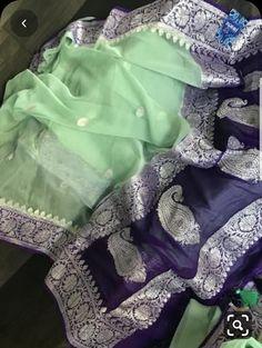 Banarsi Saree, Georgette Sarees, Silk Sarees, Indian Sarees, Organza Saree, Chiffon Saree, Saree Dress, Cotton Saree Designs, Silk Saree Blouse Designs