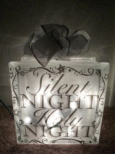 Lighted Glass Block Silent Night Holy Night by SchulersGlassDecor, $25.00