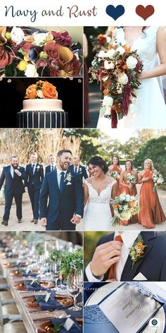 Top 8 Striking Navy Blue Wedding Color Palettes for 2019 Fall---navy blue and rust wedding dreses wedding bouquets wedding centerpeices wedding cakes diy wedding reception table settings October Wedding Colors, Winter Wedding Colors, September Weddings, Wedding Ideas For Fall, Diy Wedding Reception, Reception Table, Post Wedding, Dream Wedding, Wedding Stage