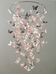 Butterfly Chandelier  Mobile, in pink, gray and white-mostly solid butterflies, shower gift, nursery mobile, baby girl mobile, baby mobile Kid Rooms, Colors