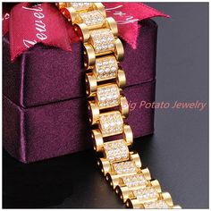 Gold Chain Men Gifts New Top CZ Stone Gift Stainless Steel Gold Tone Link Chain Womens Girls Bracelet Bangle-in Chain Gents Bracelet, Mens Diamond Bracelet, Mens Gold Bracelets, Fashion Bracelets, Bangle Bracelets, Link Bracelets, Man Bracelet, Rapper Jewelry, Jewelry Model