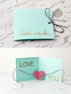 """Unique DIY Valentines Day Cards & Envelopes DIY greeting card ~ """"Look inside.Love you"""" Valentines Bricolage, Valentine Day Crafts, Be My Valentine, Valentines Day Gifts For Him Creative, Handmade Valentine Gifts, Handmade Gifts For Friends, Diy Valentines Cards, Handmade Bday Cards, Valentines Day Gifts For Him Boyfriends"""