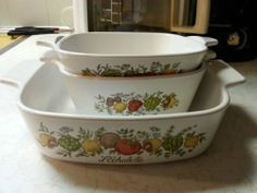 Corning Ware 3 Spice of Life Casserole Dishes 1 QT 1¼ cup and 700 ML