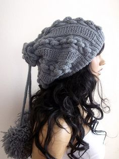 Gray Knitting Hat or cowlscarfPon pon hat by myknittingworld, $37.00