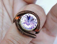bullet casing ring steampunk jewelry swarovski crystal  by keoops8