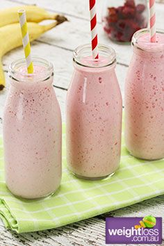 Raspberry+&+Banana+Smoothie.+#HealthyRecipes+#DietRecipes+#WeightLossRecipes+weightloss.com.au