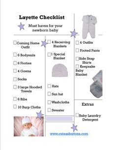 Layette Checklist:  Having a baby?  Here is a checklist of all the newborn layette essentials you will need. To see more, visit www.cuteasbuttons.com Layette Checklist