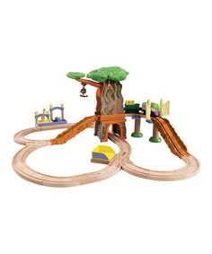 Take a look at this Chuggington Safari Set by Chuggington on #zulily today - 40% OFF!  Creative little conductors can make a Chuggington-inspired world of their very own with this safari adventure set. Tiny train enthusiasts will love helping Koko bring food to all the animals as she navigates the safari track.   Includes Koko, cargo car, hay bale, monkeys, elephant, giraffe, animal feeding station, safari entrance gate, safari risers and track pieces  Wood  Recommended for ages 3 years and…