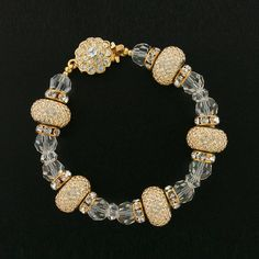 Richly Detailed Swarovski Crystal Bracelet in Gold-Tone | Giavan