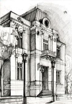 Pen and ink illustration of a building. #perspectivedrawing #sketch #sketching #penandink #inkdrawing