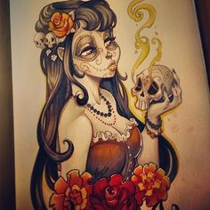 Finished - This is this first completed artwork for the upcoming 2014 sketch calendar! Scheduled to be available by mid November! Skeleton Girl, Pin Up Art, Doberman, Calendar, Princess Zelda, Cartoon, Photo And Video, Comics, Canvas