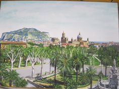 Olio su tela, 70cm x 50cm.  Prezzo: 300 euro. Contatto: micheleboscia89@gmail.com    Vista di Palermo dalla Villa con in lontananza la Cattedrale.  #art #palermo #paesaggio #sicily #sicilia #italy #italia #landscape #view #vedutadipalermo #cattedrale #cathedral