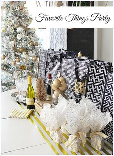 """A fun way to spend time with your girlfriends this holiday--host a """"Favorite Things"""" party--each guest brings a small gift of their favorite things for the other guests. See ideas, an easy menu and more. See all the party details here including ideas for Favorite Things gifts, how to make easy monogrammed shopping bags, food and drink ideas. The perfect girls night out idea!"""